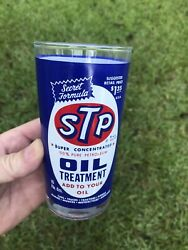 Scarce Nice Vintage Acl 1960and039s Stp Oil Can Advertising Drinking Glass Sign Gas