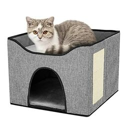 Cat House Cat Houses for Indoor Cats with Scratch Pad High Strength Wood C05