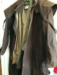 Jackeroos Made In Fiji Brown Oiled Cloth Duster Trench Coat Mens M Vintage