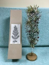 """Vintage 1950's Silver Tinsel Table-top Christmas Tree With Box Japan 12"""""""