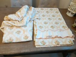 2 Pc.vintage Tastemaker 1975 Floral Roses Bouquet Flat + Fitted Twin Sheets Set