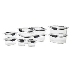 Rubbermaid Brilliance Food Storage Containers, 18 Piece Set, Leak-proof, Bpa Fre