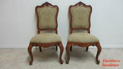 Pair Ethan Allen Tuscany French Carved Dining Room Side Chairs A