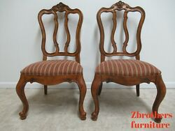 Pair Ethan Allen Tuscany Pretzel Back Dining Room Side Chairs French Carved A