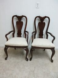 Pair Stanley Solid Cherry Queen Ann Dining Room Arm Chairs B