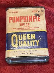 Vintage Quality Queen Pumpkin Pie Spice Tin, Zinke Co. From Fond Du Lac, Wi.