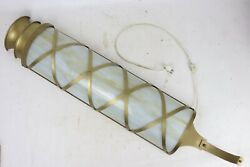 Huge Vintage 3-bulb Wall Sconce Light W/ 28 Slag Glass Shade Small Town Theatre