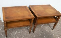Lot Of 2 Weiman Mid Century Heirloom End Tables W/inlay Design