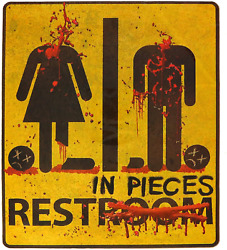 Bloody Restroom Sign Sticker - Halloween Haunted House And Horror Themed Partie