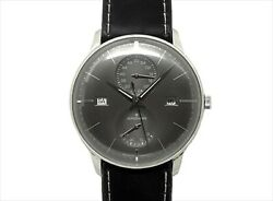 Junghans Meister Agenda 027 4567 01 Black Leather Stainless Menand039s Watch New