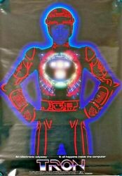 Extremely Rare Official Vintage 1982 Tron Movie Large Promo Poster 20inx28in
