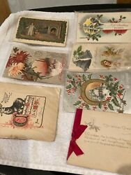 Vintage Lot Of 7 Christmas And 10 Easter Post Cards From 1910 - 1920