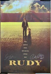 Rudy Ruettiger And Sean Astin Dual Autographed Signed Rudy Movie Poster