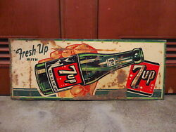 Vintage Embossed Metal Advertising Sign Fresh Up With 7up Stout Sign F/s