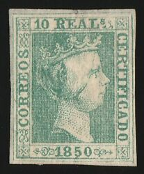 Spain 1850 Queen 10r Rare Genuine With Certificate