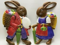 Rare Antique W. Germany German Die Cut Pair Large Easter Rabbits 1900-1920s