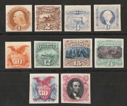 United States 1869 Pictorial Set 1c - 90c Imperf Plate Proofs On Card. Rare