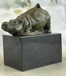 Vintage Handmade Solid Bronze Casting Copper Lovely Mini Hippo Statue Deal
