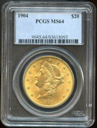 1904 20 Gold Liberty Double Eagle Ms 64 Pcgs, Near Gem Great Color