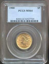 1900 5 Gold Liberty Ms 64 Pcgs Nice Color And Luster