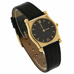 Vintage H. Stern 18k Yellow Gold Black Dial Leather Band Ladyand039s Quartz Watch