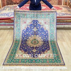 Collection Of 4x6ft Hand Knotted Area Rug Bedroom Handmade Silk Carpet
