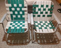 Pair Vintage Webbes Folding Lawn Chairs Mid Century Patio Yard Furniture Green