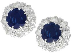1.40ct Sapphire 1.10ct Diamond 9ct White Gold Cluster Earrings Vintage