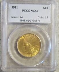 1911 Gold Eagle 10 Indian Pcgs Ms-62 / Beautiful Coin / Ships Free Same Day