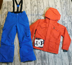Dc Shoes Firefly Ski Snow Suit Jacket Pants Bibs Insulated Red Blue Boy's 8