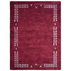 Hand Knotted Gabbeh Silk Mix Area Rug Solid Red Bbh Homes Bblsm511