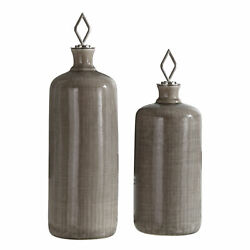 Uttermost Dhara Jim Parsons Ceramic And Iron Set Of 2 Bottle Decor 18936