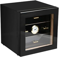 Cigar Humidor Tempered Glass With Front Mounted Hygrometer And Humidifier, Wood