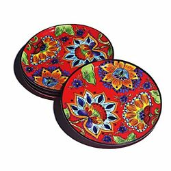 Ranmeli Red Floral Dishes Set For 4 8.8 Ceramic Dinnerware Sets For Salad And ...