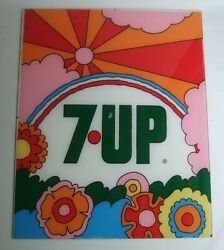 Rare 1970 's 7up Fresh Up Petermax Vintage Acrylic Plate Signboard Advertising
