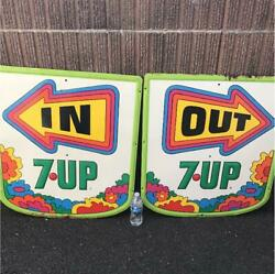 Rare 1970 's 7up Fresh Up Petermax Vintage Signboard Advertising In And Out 2set