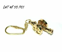 Vintage Brass Ship Cannon Key Chain Key Ring Lot Of 50 Piece