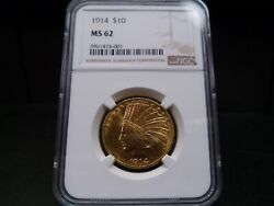 1914 Ms62 10 Indian Gold Eagle Ngc Certified Philadelphia Mint Coin - Bright