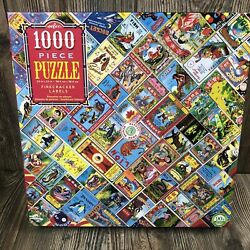 Eeboo 1000 Pc Firecracker Labels Puzzle -vintage Art -90 Recycled {0035a}