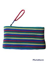 Vintage 1940andrsquos Telephone Phone Cord Purse / Clutch Red Yellow Green And Blue