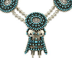 Navajo Kachina Necklace .925 Silver Natural Blue Turquoise Signed By C.80's