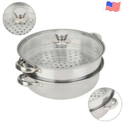 2-tier Stainless Steel Steamer Hot Pot Steam Food Steaming Tray Kitchen Cookware