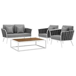 Modway Stance 4 Piece Outdoor Patio Sectional Sofa Set Eei-3172-whi-gry-set