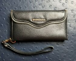 REBECCA MINKOFF MAB Leather Phone case Black Wristlet for iPhone 7 amp; 8 $13.00