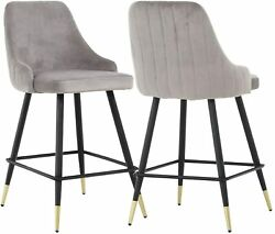 Bar Stools Set Of 2 Upholstered Counter Height Stools With Back And Footrest