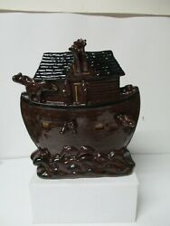 1995 Eldreth Redware Pottery Of Pa - 9 3/4t Noah's Ark W All Over Animals
