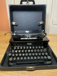 1936 Antique Royal Junior Portable Typewriter Working W New Ink And Case
