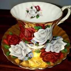 Queen Anne Roses Heavy Gold Cup And Saucer