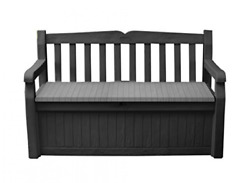 Keter Solana 70 Gallon Storage Bench Deck Box For Patio Furniture, Front Grey