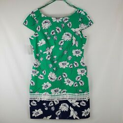 Eliza J 10 Green And Navy Blue With White Flowers Print Lace Trim Sheath Dress